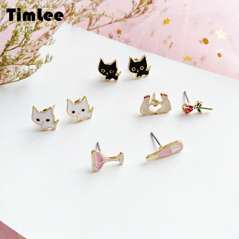 Timlee E081 Cute Cartoon Black and White Lollipop Cat Stud Earrings