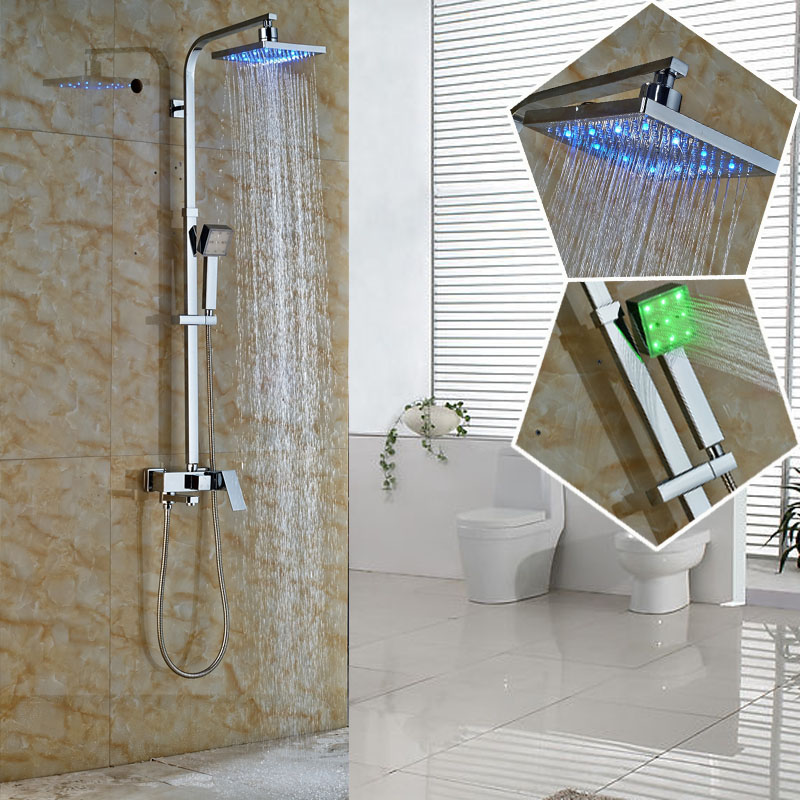 2016 New Design Color Changing LED Rain Shower Mixer Faucet Complete Set Bathroom Outdoor In wall