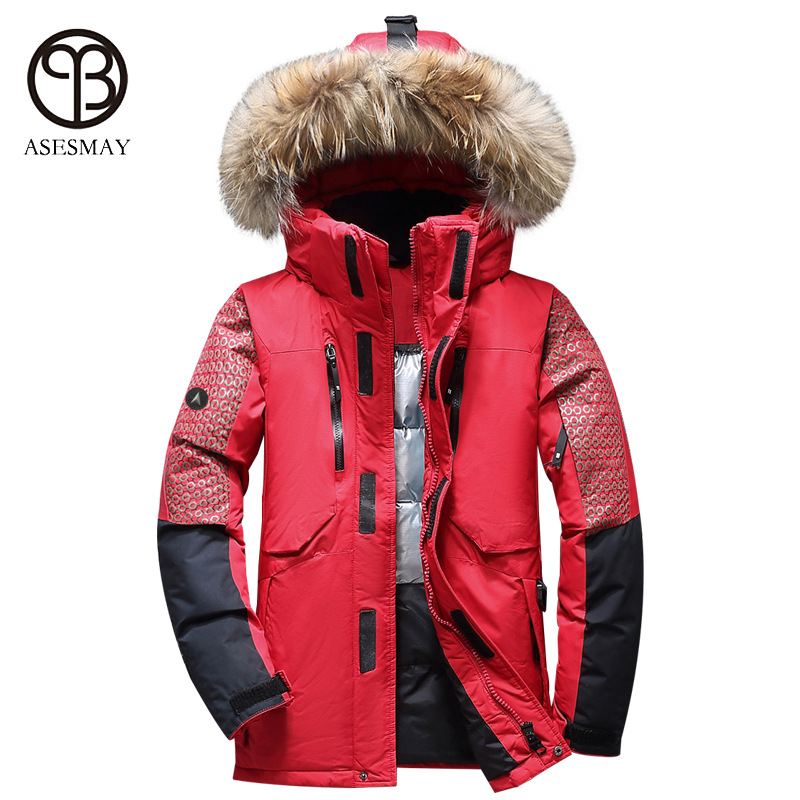 Asesmay 2017 casual men winter jacket thick warm white duck down parka high quality hooded fur goose feather wellensteyn coats