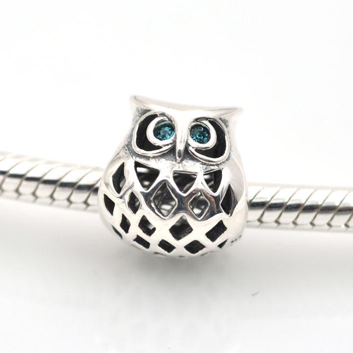 29a97048e 100% 925 Sterling Silver Owl with CZ Threaded Charms bead DIY beads women  Jewelry Fits european Pandora charm bracelet