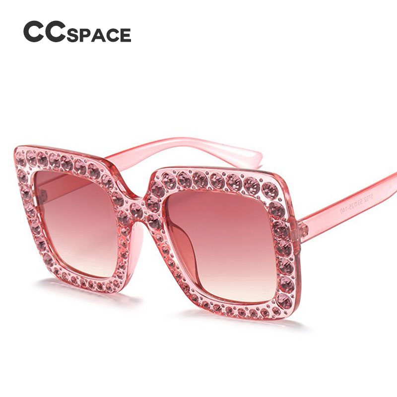 98aab1ac472 CCSPACE Ladies Diamond Crystal Pink Sunglasses For Women Big Frame Sqaure Glasses  Italy Brand Designer Eyewear Shades 45195-in Sunglasses from Apparel ...
