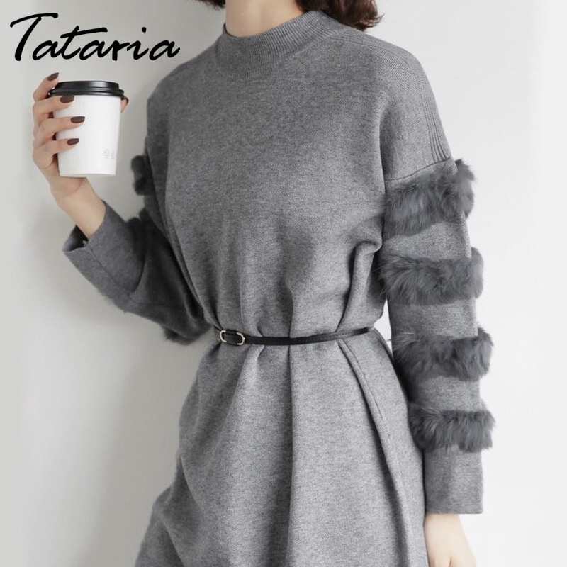 Long Sweater Dress Women Loose Real Rabbit Fur Pull Femme Women Sweaters And Pullovers Knitted Sweater Dresses For Winter