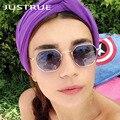 JUSTRUE 2017 Tendências Mulheres Óculos De Sol Grife Unissex Óculos de Sol UV400 óculos de Sol Claro Hexágono De Metal Quadro Homens Shades