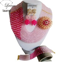 fucsia pink and baby pink crystal beads african necklace for nigerian wedding CLS028