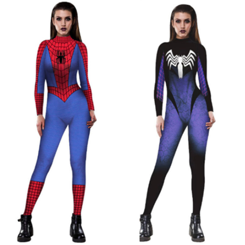 Venom Black red Spider-Man Jumpsuit Cosplay Costume Spider Lady Sexy Slim halloween costumes f or women free Shipping