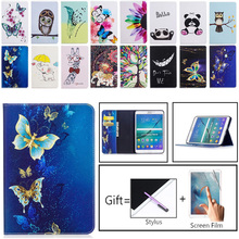 Butterfly Painted Flip PU Leather Case For Samsung Galaxy Tab S2 8.0 T710 Tablet Cover T715 T719