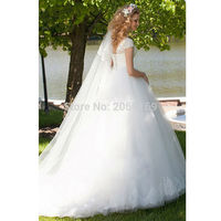 2019 Perfect New Bridal V Neck Short Sleeve Cap Sleeve Lace UP Beaded Lace Up Ball Gown Vintage Romantic Wedding Dresses