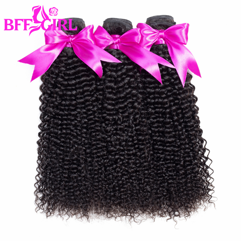 BFF GIRL Brazilian Kinky Curly Hair Bundles 100% Human Hair 3 Bundles 10-26 Natural Black Color Non Remy Hair Weaves Extension