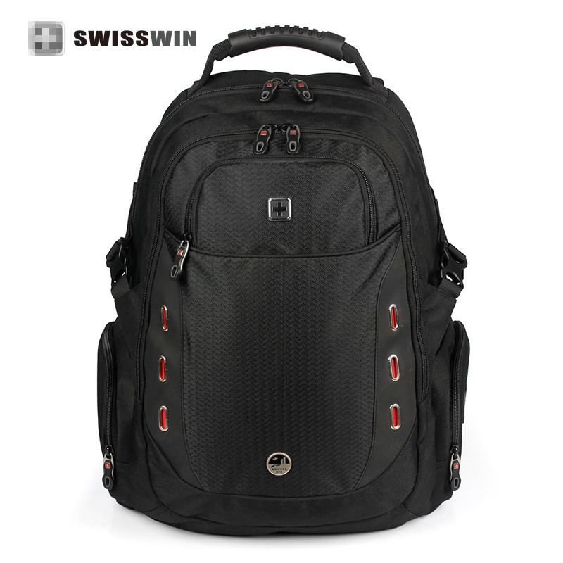 swisswin waterproof Laptop Backpack for 15.6 Computer Backpack with Multi-Pocket For Business  Ergonomic School Bag SW6008v ozuko multi functional men backpack waterproof usb charge computer backpacks 15inch laptop bag creative student school bags 2018