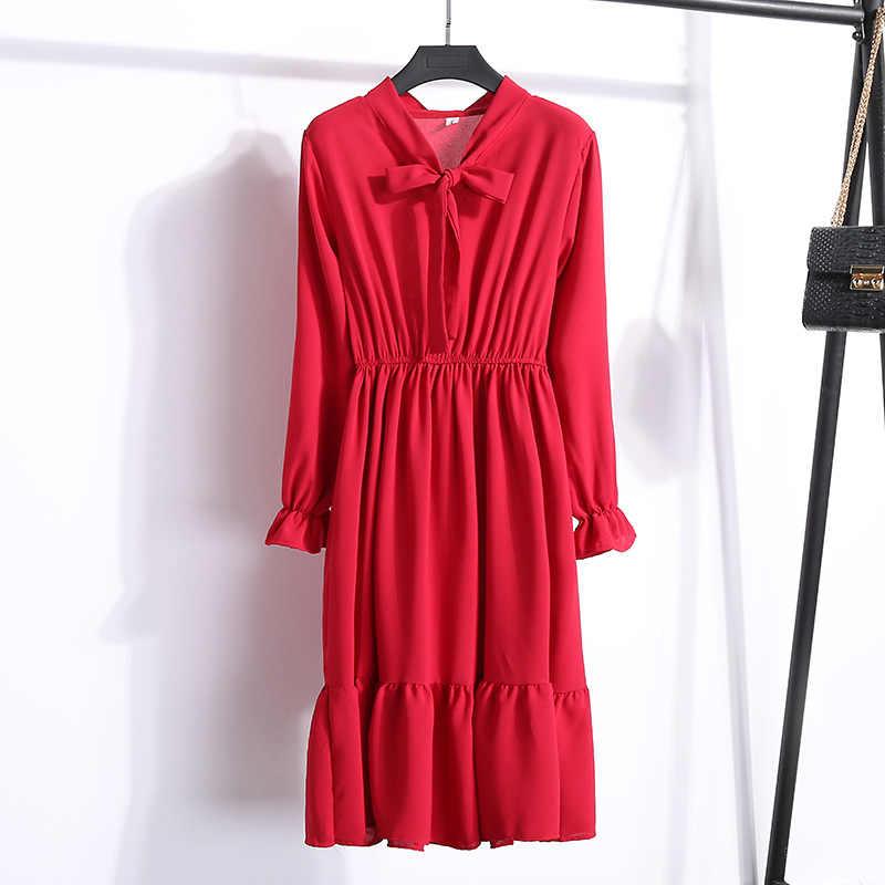 653109f70785eaf ... 2019 весеннее платье с длинным рукавом офисное платье в горошек  винтажное платье женское повседневное красное цветочное ...