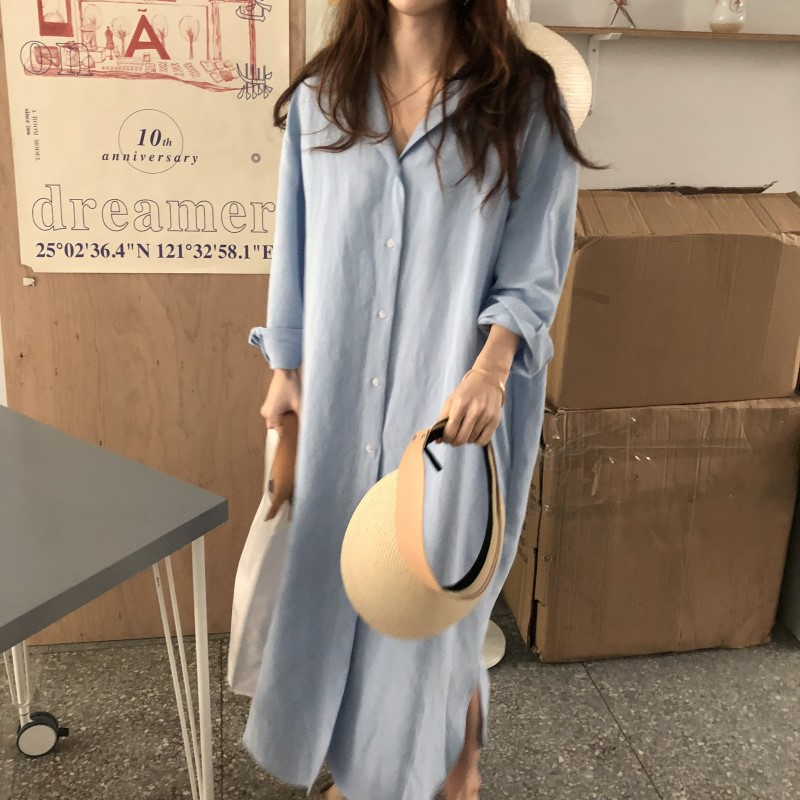Blue Long Sleeve Long Shirt Dress Spring Casual Patchwork White cotton Dresses Collar Buttons Loose Dresses Robe Femme Vestido 10