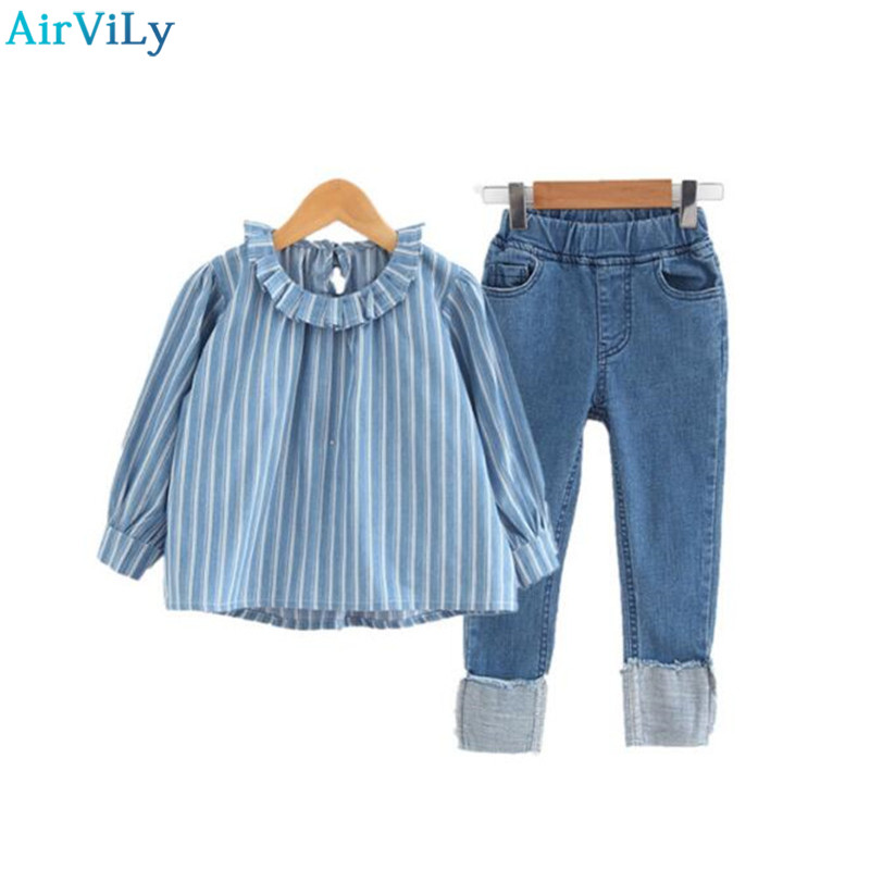 Baby Girls Clothes Sets Children Denim Stripe Blouse+Jeans Pants 2pcs Set Lotus Leaf Collar Spring Shirts Suit Kids Tracksuits 2pcs children outfit clothes kids baby girl off shoulder cotton ruffled sleeve tops striped t shirt blue denim jeans sunsuit set