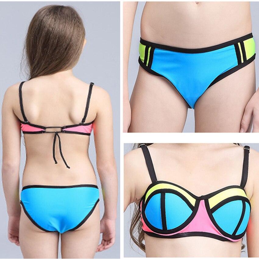 buy patchwork swimsuit girls bikini kids children swimwear for teenage girls child bikini set beachwear baby swim bathing suits from