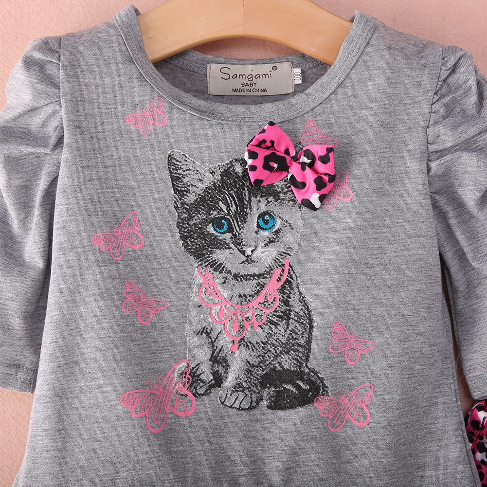 1e6415461de500 2018 Hot Baby Girls Lovely Cat Pattern Cotton T shirt Tops Dress Leopard  Pants Outfits -in Clothing Sets from Mother & Kids on Aliexpress.com |  Alibaba ...