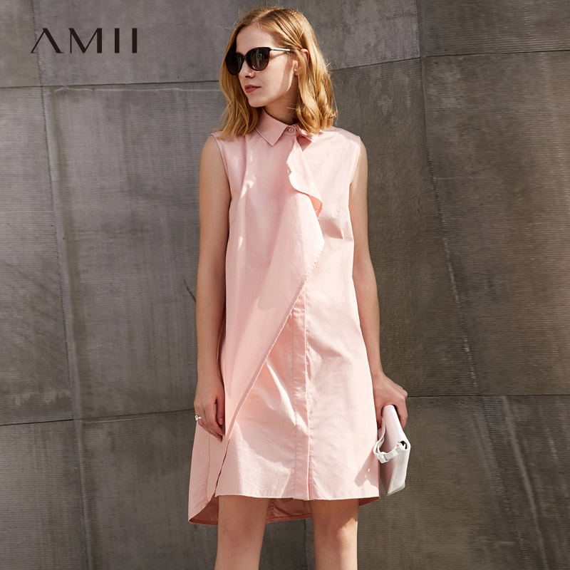 Amii Women Minimalist Dress 2018 100 Cotton Solid Asymmetric Knee Length Turn down Collar Female Dresses