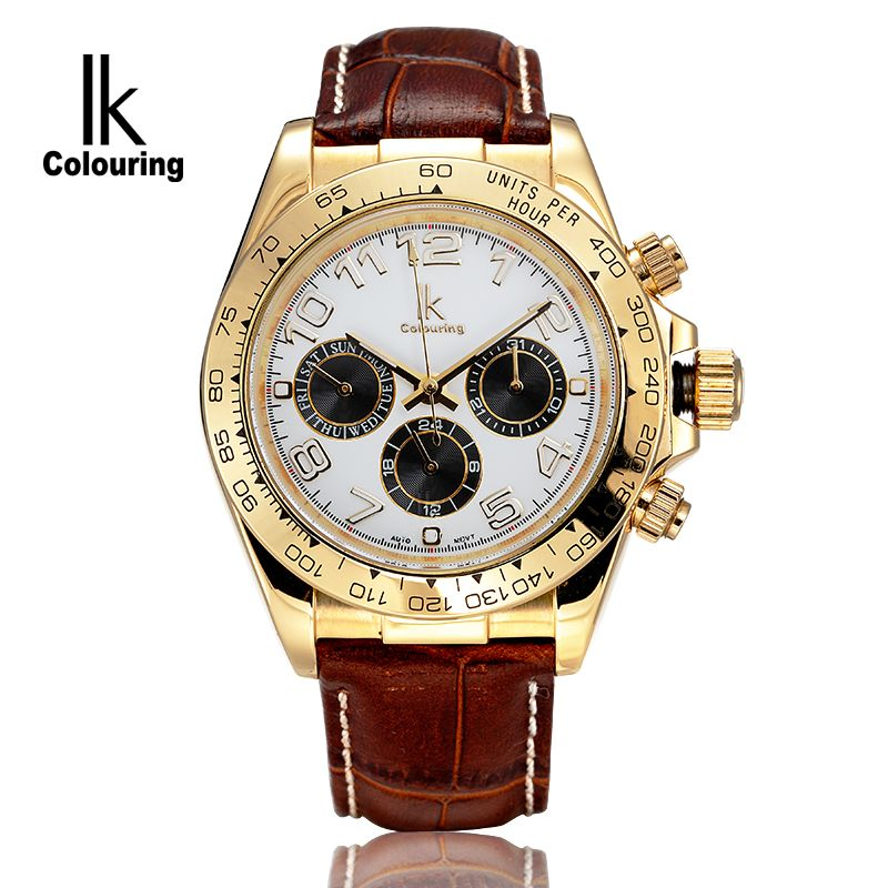 ФОТО IK Luxury Men's Erkek Kol Saati Day/Week/24 Hours Auto Mechanical Watch Wristwatch Orignal Box Free Ship