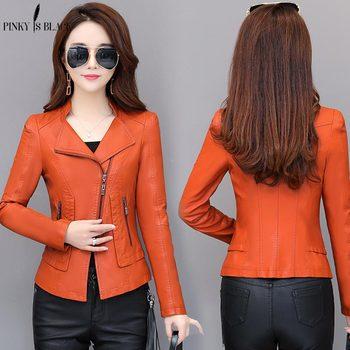 PinkyIsblack Plus Size S-4XL Women Leather Jacket 2019 New Jackets Solid Slim Casual PU Motorcycle Coats