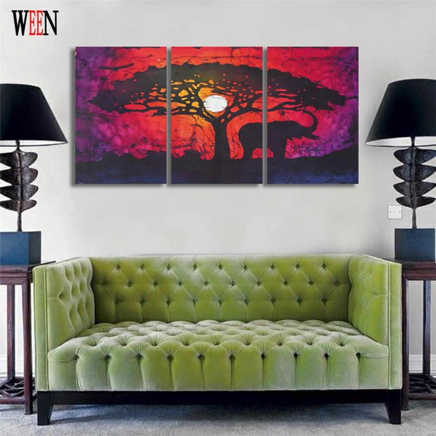 Ween gajah dan pohon dinding untuk ruang tamu modern hd dicetak 3 piece bulan cuadros decoracion kanvas lukisan art