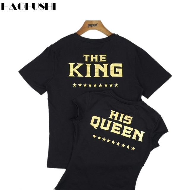 c8f6ff39a THE KING HIS QUEEN T-Shirt Women Men Lovers Harajuku Couple Hipster Shirt  Black Gold t shirt Summer Style tees Tops