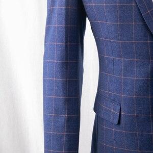 Image 2 - ダークブルー市松スーツ男性ブルーチェックスーツテーラーメイドの男性スタイル市松ドレススーツパンツ、 2019 ファッション衣装確認 Mesure