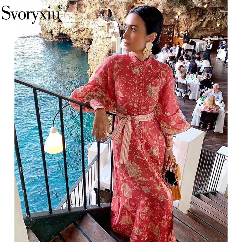 Svoryxiu Designer Brand Lantern Sleeve Long Dress Women's Elegant Boho Printed Single Breasted Autumn Party Dress Vestdios-in Dresses from Women's Clothing    1