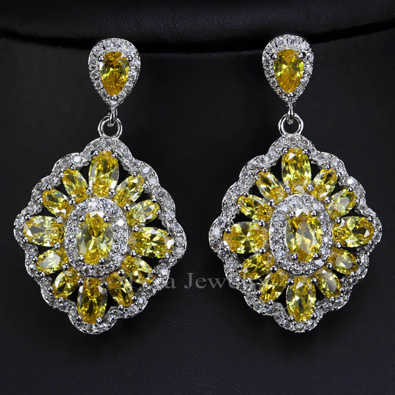 Pera Vintage Nigerian Women Yellow Gold Color Costume Jewelry Square Shape Long Drop Earrings With Cubic Zirconia E165 In From