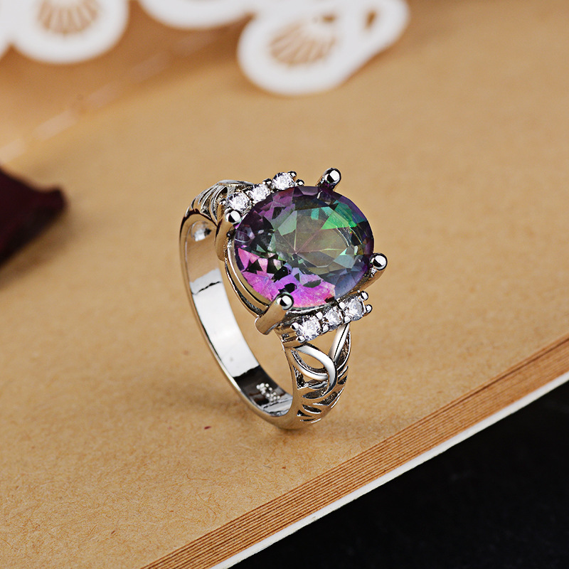 Colorful Stone Diamond Ring 925 Silver Rainbow Gem Amethyst Bague or Jaune Bizuteria Anillos De Jewelry Rings for Wedding 2019 in Rings from Jewelry Accessories