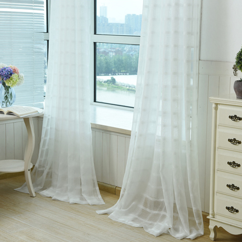 White Tulle Curtains Translucent Curtain Living Room Kitchen ...