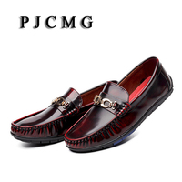PJCMG Spring Autumn Black Red Silver Slip On Metal Style Casual Men Genuine Leather Moccasins Loafers