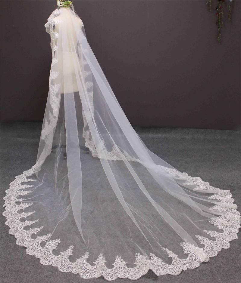 2016 New Romantic Lace Edge One Layer 3 meter Bruidssluier zonder kam - Bruiloft accessoires - Foto 6