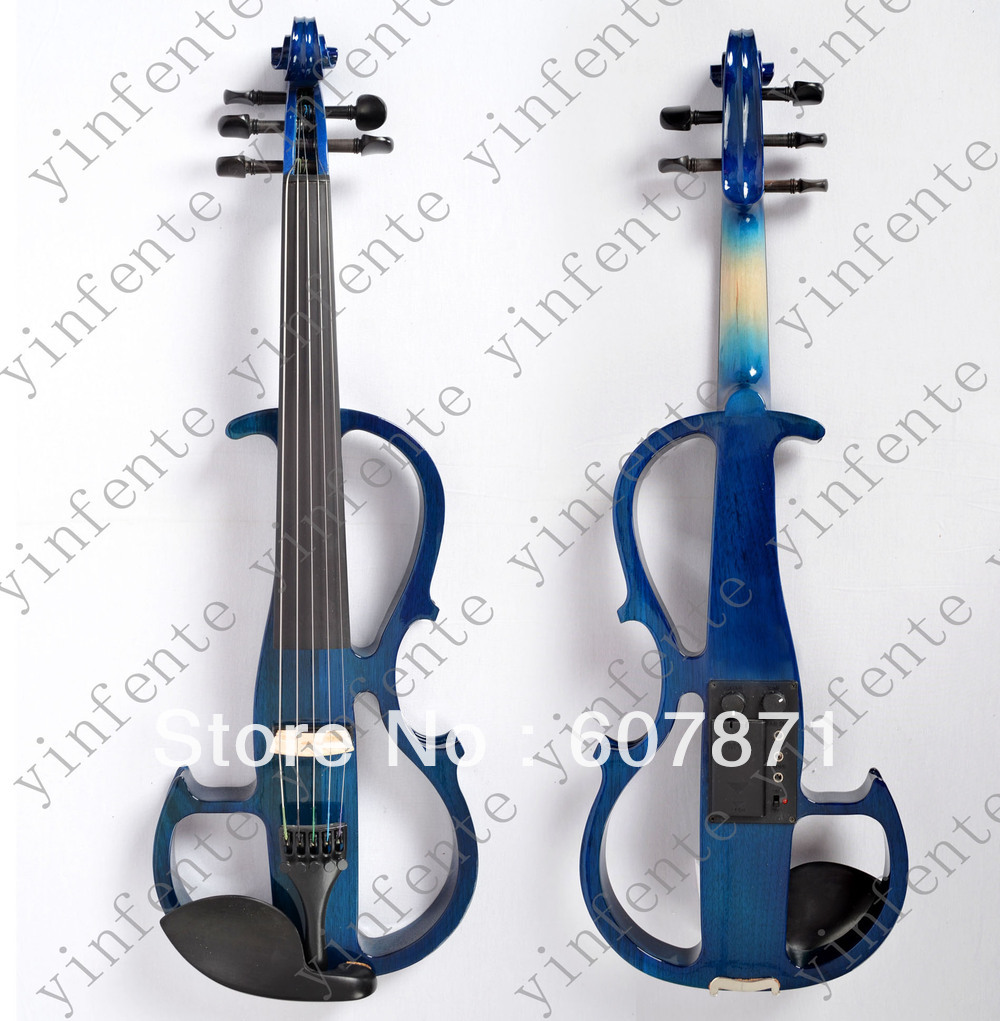 New blue 5 string 4/4 Electric violin silent wonderful tone Any color 4 4 high quality 5 string electric violin yellow 2 pickup violin