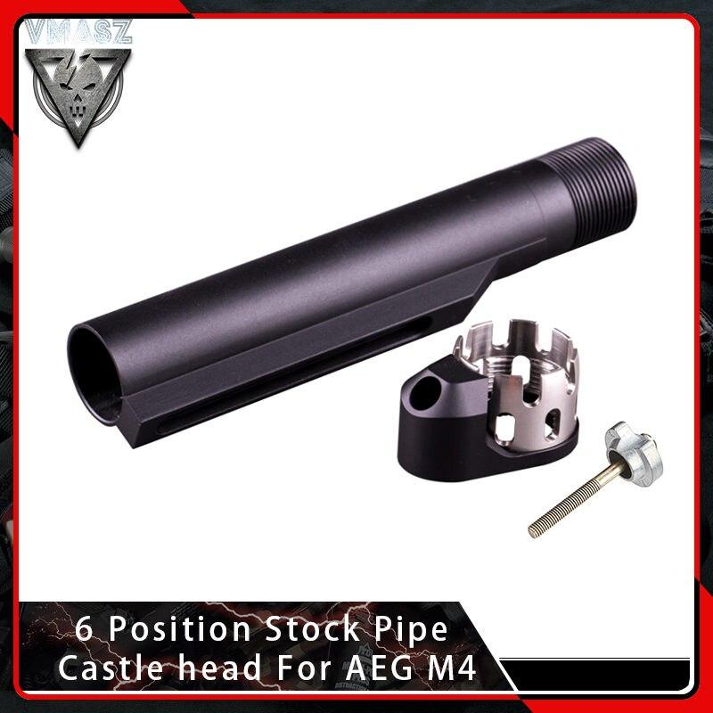 Tête de château de tuyau de Stock de Position de VMASZ 6 pour Airsoft AEG M4/M16 AR amélioré accessoires de tir de Paintball de chasse d'écrou de château