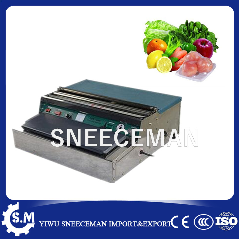 Automatic cling film tray meat vegetable packaging machine