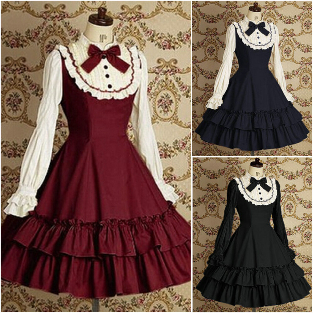 Long Sleeve Classic Gothic Style Lolita Dresses 18th Century Retro Cotton Lace Bow Princess Dress For