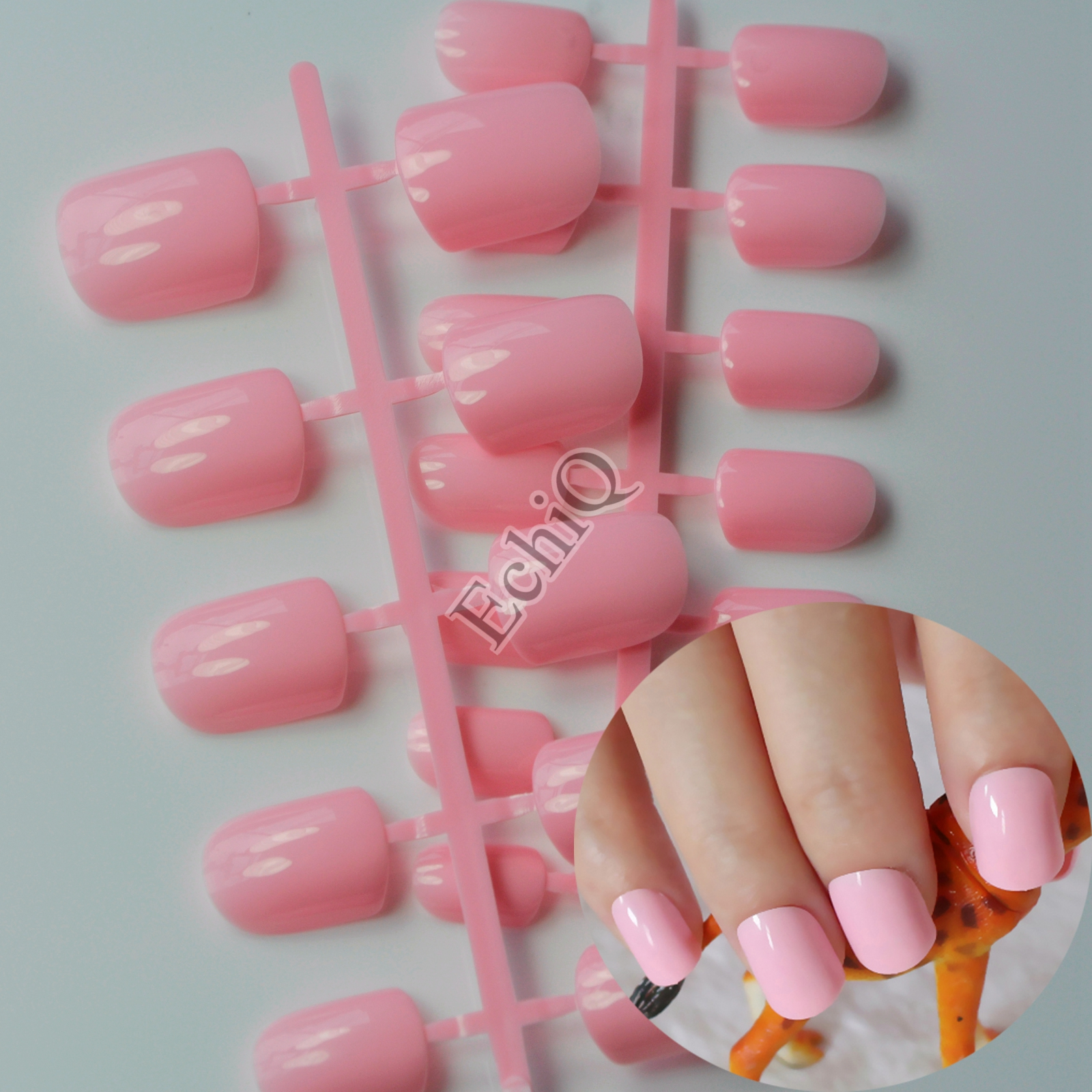 24pcs Sweet Baby Pink Medium Flat False Nail Acrylic Manicure Candy ...