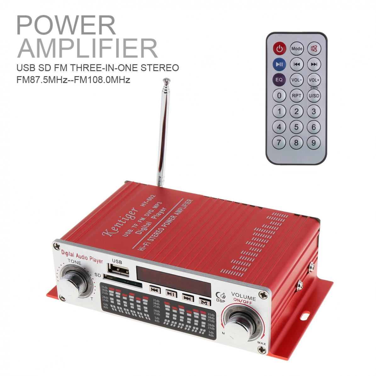 HY-602 HI-FI Digital Car Audio Player Car Amplifier FM Radio Stereo Player Support SD /USB / DVD / MP3 Input with Remote Control