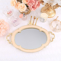 Oval Retro Resin Mirror Pink Plate Vintage Green Jewelry Storage Trays Dessert Tray Cake Dish Wedding Decoration Crafts Gifts