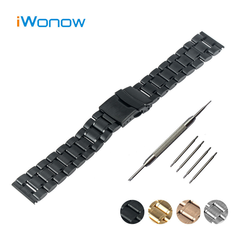 Stainless Steel Watch Band 24mm for Sony Smartwatch 2 SW2 Safety Buckle Strap Wrist Belt Bracelet Black Rose Gold Silver + Tool 24mm genuine leather watchband for sony smartwatch 2 sw2 smart watch band wrist strap plain grain belt bracelet tool black