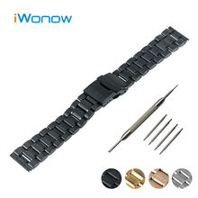 Stainless Steel Watch Band 24mm for Sony Smartwatch 2 SW2 Safety Buckle Strap Wrist Belt Bracelet Black Rose Gold Silver + Tool