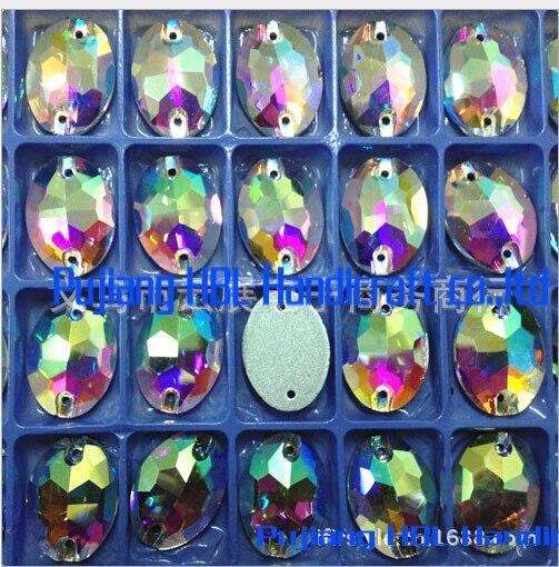 Blanc AB ovale 2 trous 112 pièces 13x18mm Flatback verre cristal boutons couture strass acessorios de costura