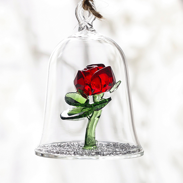 H D Crystal Beauty And The Beast Enchanted Red Rose Gl Sculpture In Dome Flower Figurine