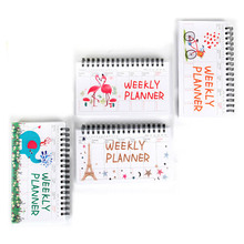 Cartoon Flamingo Elephant Weekly Daily Planner Notebook Agenda Organizer Stationery School Office supplise kawaii cartoon weekly planner coil notebook schedule agenda kids gift stationery for school office