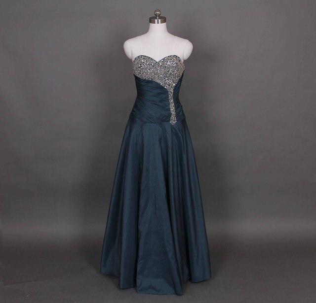 b51d6859 Sexy Dark Green Formal Evening Dress Taffeta Prom Dress Sweetheart Neckline  Beaded Bridal S Party Dress