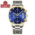 Часы OLMECA мужские  деловые  топовые  Роскошные  с секундомером  полностью стальные  синие  золотые  повседневные  кварцевые