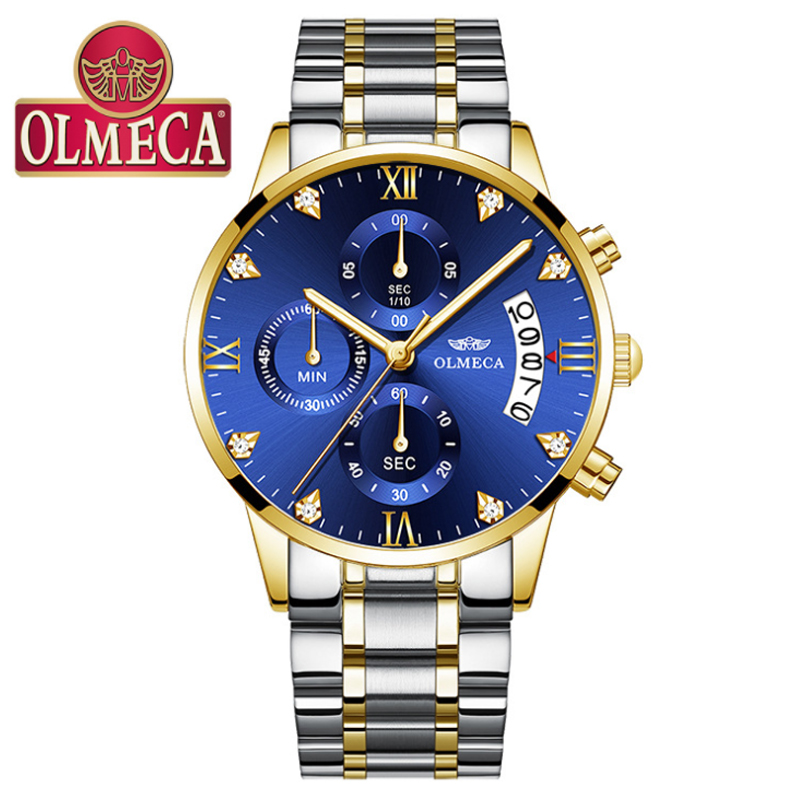 OLMECA Mens Business Watches Top Brand Luxury Chronograph Watches Full Steel Blue Gold Casual Quartz Watch Relogio Masculino