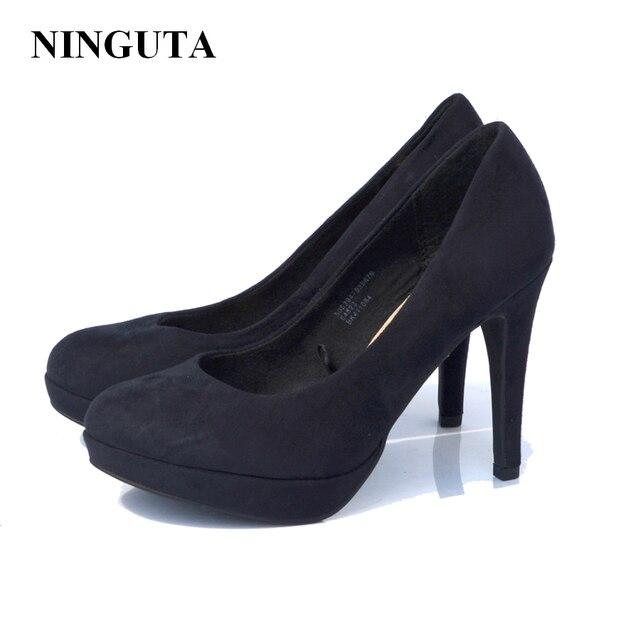 14e8ef41ac6 Tacones altos clásicos zapatos de vestir mujer negro bombas zapato de las  señoras resbalón en 36