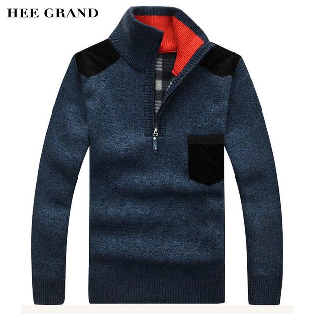 Hee grand camisolas dos homens novos chegada do outono inverno gola casuais zíper grosso pulôver tamanho m-3xl 7 cores mzl521