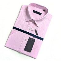 Seta di gelso + Camicie di Cotone manica Corta per Altezza e handsome Men Estate Business Casual A Righe plaid di colore solido maschio camicia