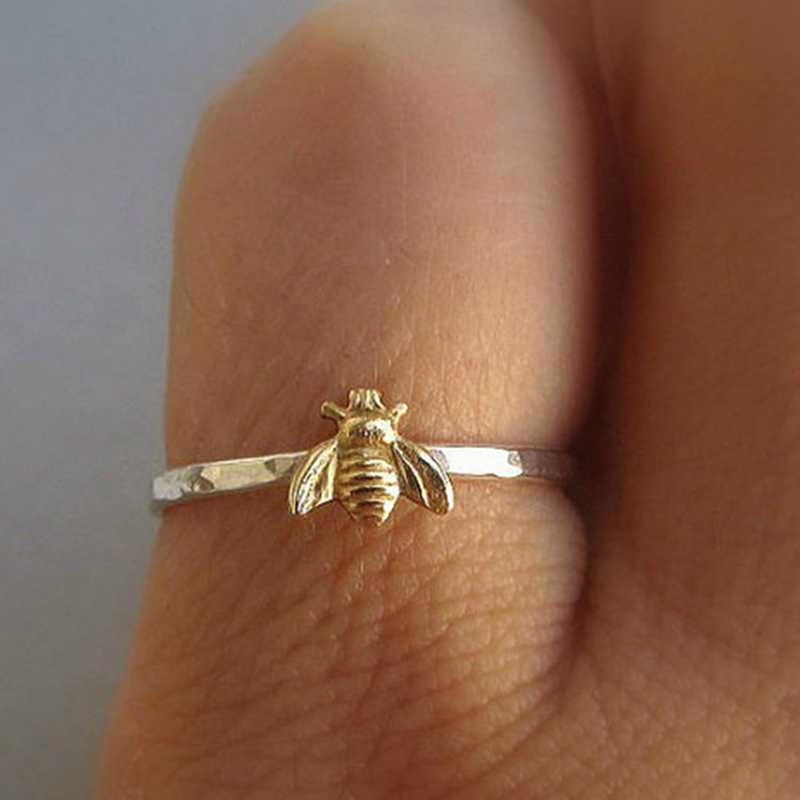 1Pcs Simple Tiny Solid Gold Color Copper Bee Finger Rings Gold Hammered Band Stacking Rings Wedding Anniversary Jewelry