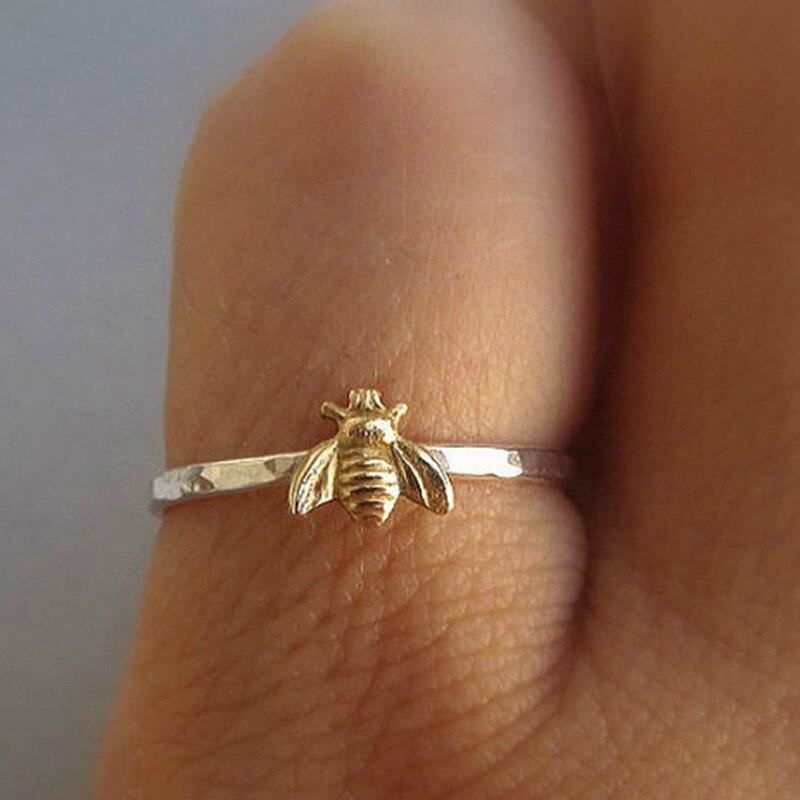 1 Pcs Eenvoudige Tiny Solid Gold Kleur Koper Bee Ringen Goud Gehamerd Band Stapelen Ringen Trouwdag Sieraden